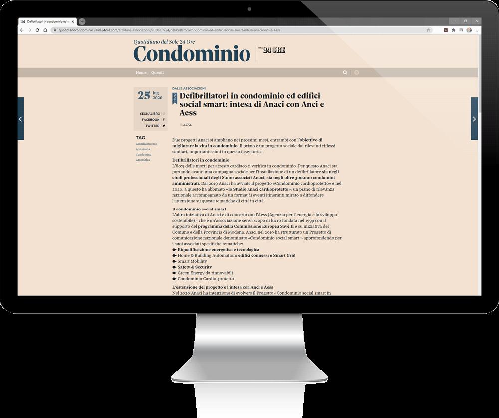 articolo sole 24 ore condominio social smart
